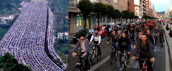 NO BLOQUEAMOS EL TRÁFICO. TAMBIEN SOMOS TRÁFICO. Hay atascos y atascos. La circulación en bici es más fluida, no contamina ni hace ruido.