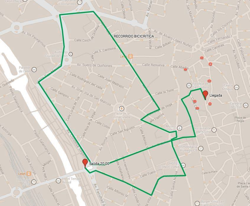 recorrido bicicritica León julio 2014